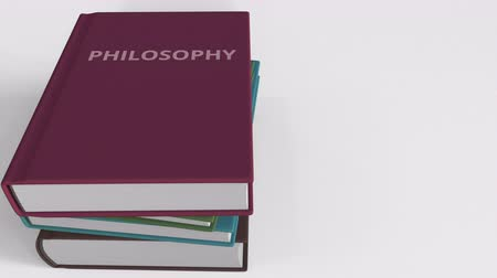 felsefe : Pile of books on PHILOSOPHY. 3D animation