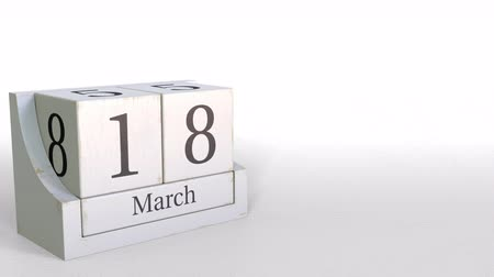 osiemnastka : Wooden blocks calendar shows March 18 date, 3D animation