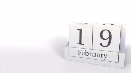 luty : February 19 date on wood bricks calendar. 3D animation