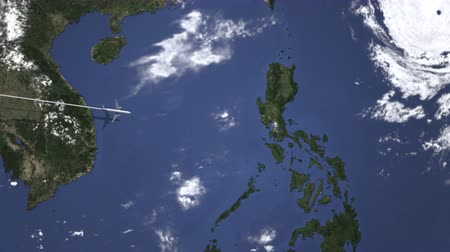 filipíny : Route of a commercial plane to Manila, Philippines from west. Intro 3D animation