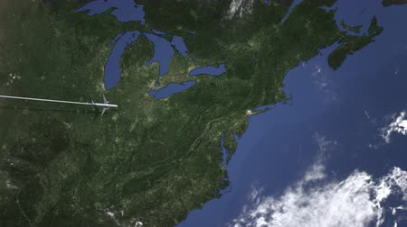 bilet : Route of a commercial plane to New york city, United states from west. Intro 3D animation