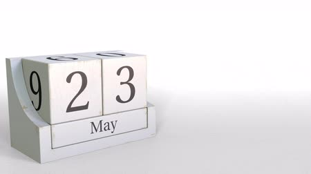 três : May 23 date on vintage cube calendar, 3D animation Stock Footage
