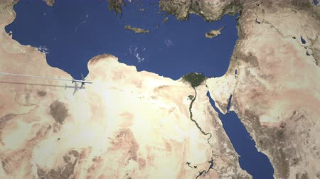 bilet : Airliner flying to Cairo, Egypt from west on the map. Intro 3D animation