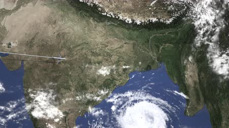 kolkata : Airplane heading to Kolkata, India from west on the map. Intro 3D animation