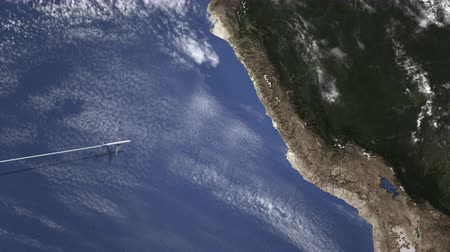 lima : Airliner flying to Lima, Peru from west on the map. Intro 3D animation