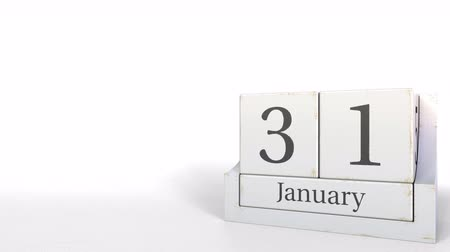 primeiro plano : Cube calendar shows January 31 date. 3D animation