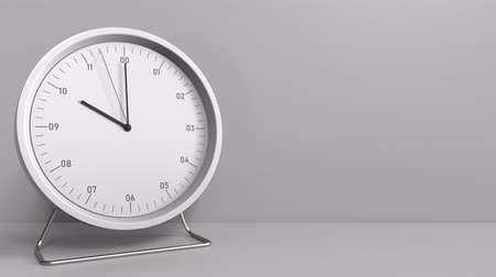 terms : Clock shows 10:00 or 22:00 sharp. Ten or twenty-two oclock. 3D animation Stock Footage