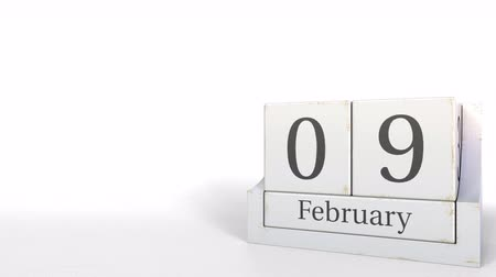 nove : Wooden blocks calendar shows February 9 date, 3D animation Vídeos