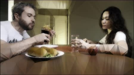 estilizado : Man eating junk food and woman having light healthy meal. Conceptual lowpoly clip