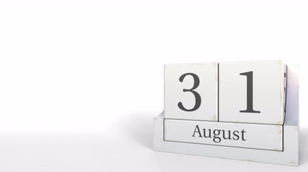 son teslim tarihi : August 31 date on wooden blocks calendar. 3D animation