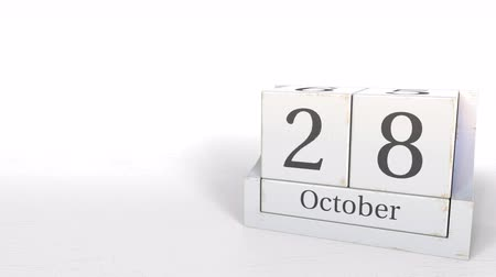 eight : October 28 date on retro blocks calendar, 3D animation