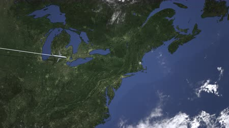 Бостон : Commercial airplane flying to Boston, United states from west. Intro 3D animation
