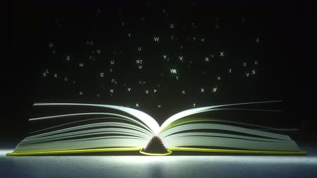 alfabetização : Glowing letters mysteriously vaporize from the open book. Reading or literature related animation Vídeos