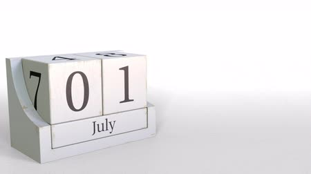 hoje : July 1 date on retro blocks calendar, 3D animation