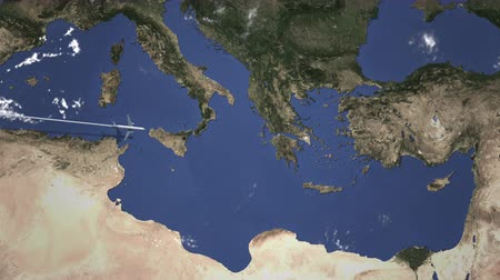 aerial athens : Commercial airplane flying to Athens, Greece. Intro 3D animation Stock Footage