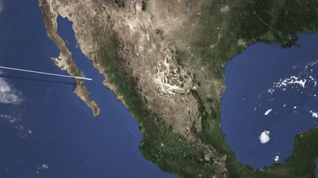 mexico city : Airliner flying to Monterrey, Mexico from west. 3D animation