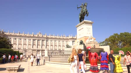 real madrid : MADRID, SPAIN - SEPTEMBER 30, 2018. Palacio Real de Madrid or Royal Palace behind Felipe IV monument