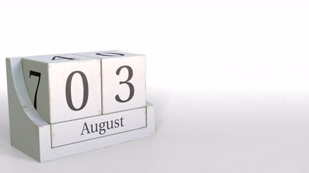 três : August 3 date on wooden blocks calendar. 3D animation Stock Footage