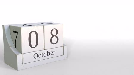 eight : Cube calendar shows October 8 date. 3D animation