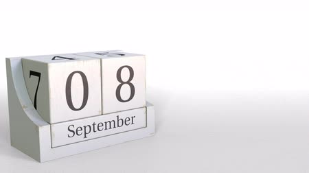eight : September 8 date on retro blocks calendar, 3D animation