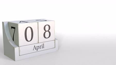 período : April 8 date on wooden blocks calendar. 3D animation Vídeos