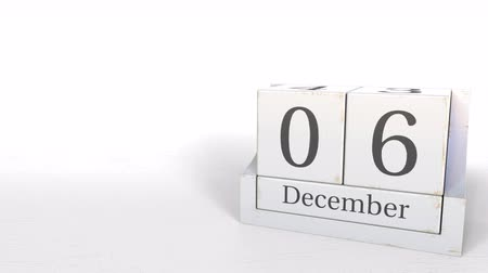 hoje : December 6 date on retro blocks calendar, 3D animation