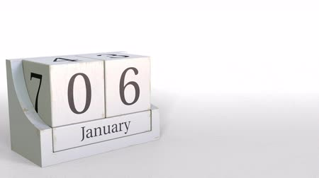 epiphany : January 6 date on vintage cube calendar, 3D animation Stock Footage