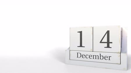son teslim tarihi : December 14 date on wood bricks calendar. 3D animation