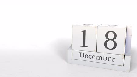osiemnastka : December 18 date on retro blocks calendar, 3D animation
