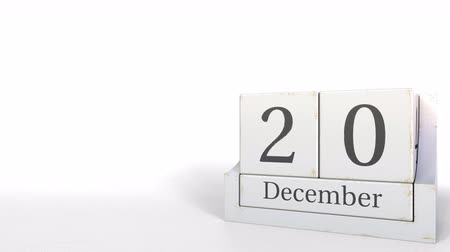 son teslim tarihi : Wooden blocks calendar shows December 20 date, 3D animation