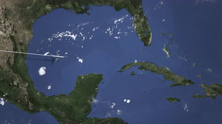 bilet : Plane arriving to Havana, Cuba from west, intro 3D animation Stok Video