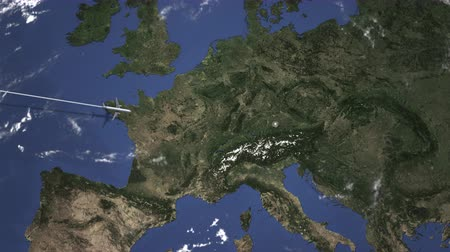 за границей : Route of a commercial plane flying to Munich, Germany on the map. Intro 3D animation Стоковые видеозаписи