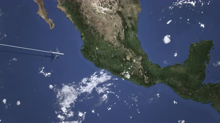orta hava : Commercial airplane flying to Puebla, Mexico. Intro 3D animation