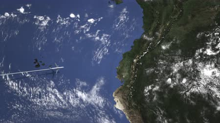 equador : Plane arriving to Quito, Ecuador from west, intro 3D animation
