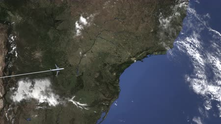 santos : Airplane flying to Santos, Brazil on the map. Intro 3D animation