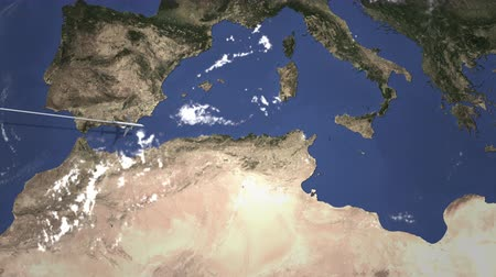bilet : Commercial airplane flying to Tunis, Tunisia. Intro 3D animation Stok Video