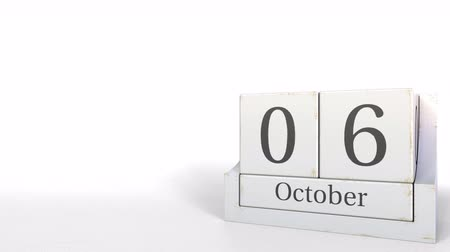 son teslim tarihi : Cube calendar shows October 6 date. 3D animation