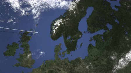 arrive : Airplane flying to Stockholm, Sweden on the map. Intro 3D animation Stock Footage