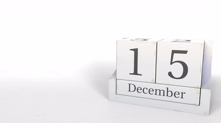 son teslim tarihi : December 15 date on wooden blocks calendar. 3D animation