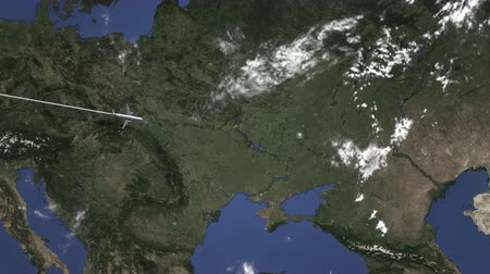 bilet : Commercial plane arrives to Kharkiv, Ukraine, intro 3D animation