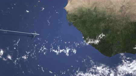 freetown : Airliner flying to Freetown, Sierra Leone from west. 3D animation Stock Footage
