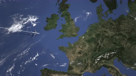 bilet : Route of a commercial plane flying to Lille, France on the map. Intro 3D animation Stok Video