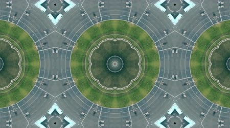 espana : Kaleidoscope effect of aerial view of roundabout traffic in Barcelona, Plaza de Espana