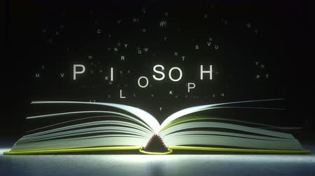 felsefe : PHILOSOPHY text made of glowing letters vaporizing from open book. 3D animation