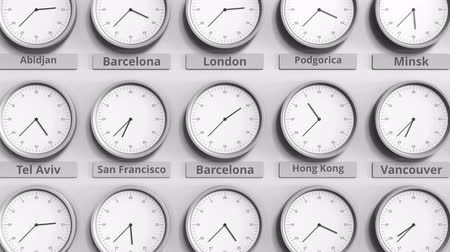 within : Round clock showing Barcelona, Spain time within world time zones. 3D animation