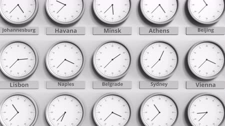 within : Round clock showing Belgrade, Serbia time within world time zones. 3D animation