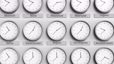 bogota : Focus on the clock showing Bogota, Colombia time. 3D animation Stock Footage