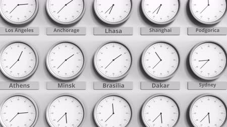 разница : Clock shows Brasilia, Brazil time among different timezones. 3D animation Стоковые видеозаписи