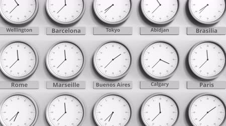 aires : Clock shows Buenos Aires, Argentina time among different timezones. 3D animation Stock Footage