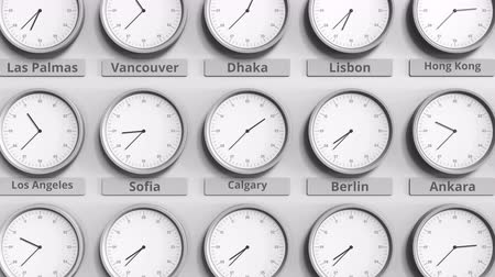 período : Round clock showing Calgary, Canada time within world time zones. 3D animation